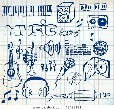 Set of music hand-drawn icons on squared paper (vector)