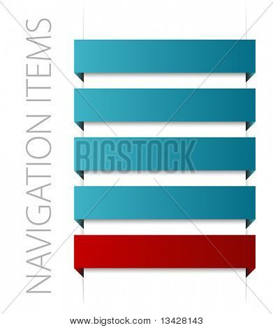 modern blue navigation items on white background (vector)
