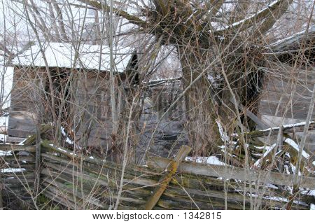 Old Snowy Barn  With Creek