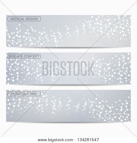 Set of modern science banners. Molecule structure of DNA and neurons. Medicine, science and technolog, business and website templates. Vector illustration for your design.