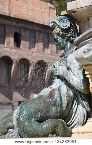 Fountain on Piazza Maggiore in Bologna the capital city of Emilia-Romagna Italy