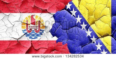 french polynesia flag with Bosnia and Herzegovina flag on a grun