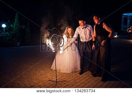 Amazing Fire Show On Wedding Ceremony At Night