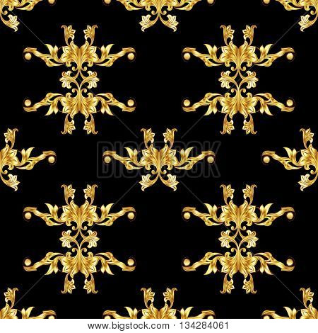 Seamless golden pattern in floral style on black background