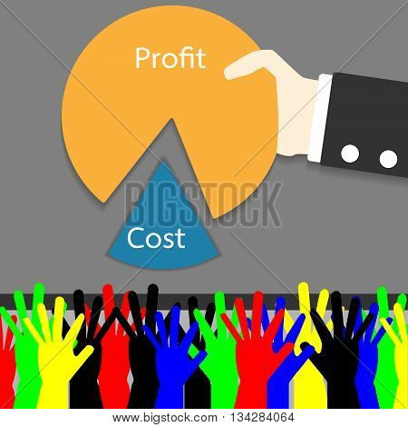 Employees stretched his arm for a share of the profits. Board only take the profitable. Vector illustration. EPS10