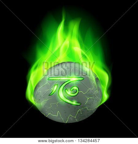 Ancient cracked stone with magic rune burning in green flame