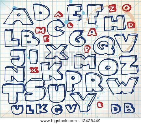 Alfabeto de doodle dibujado mano sobre papel cuadrado