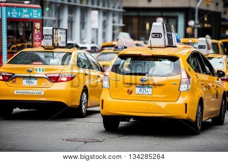 NEW YORK CITY, USA - May 28, 2016: Famous new York City cabs looking for customers in the midtown area of Manhattan