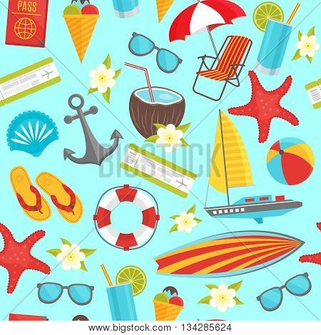 Summer travel seamless pattern with anchor boarding pass ship drink passport on pale blue background vector illustration