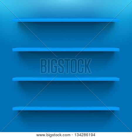 Four horizontal bookshelves on the blue wall