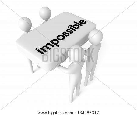 Teamwork: Solution to a big problem 3d men 3d illustration