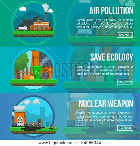 Environmental pollution colored banner set with descriptions of air pollution save ecology and nuclear weapon vector illustration