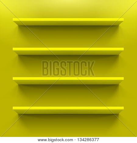 Four horizontal bookshelves on the yellow wall