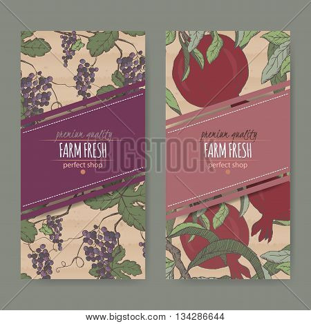 Set of two labels with grape and pomegranate color sketch. Placed on original cardboard texture. Great for store and packaging design.