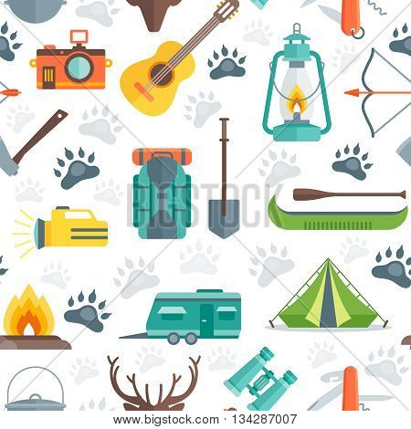 Camping seamless pattern with animal tracks tent boat flashlight guitar motor home on white background vector illustration