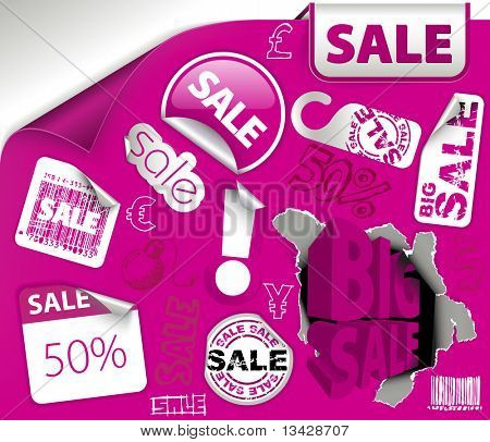 Set of purple discount tickets, labels, stamps, stickers, corners, tags (vector)