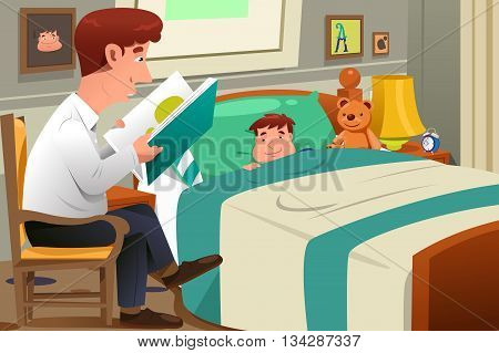 A vector illustration of father reading a bedtime story to his son