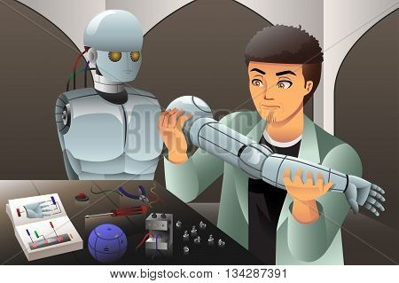 A vector illustration of scientist man making a robot