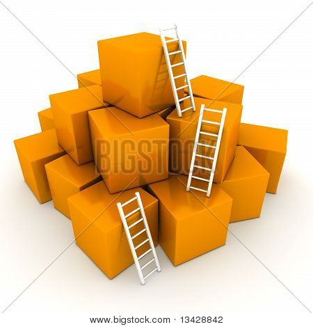 Batch Of Shiny Orange Boxes - Climb Up With Bright White Ladders