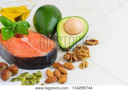 selection Food sources of omega 3 and healthy fats. copy space.