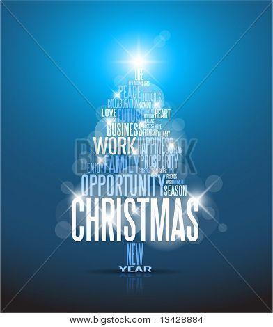 abstrakt Christmas Card with Saison Wörter auf blauem Hintergrund