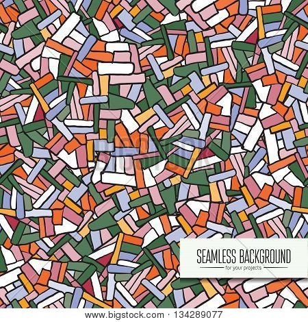 Vector seamless orange, green and white broken tile pattern for your design - website background, poster, banner, backdrops, book cover, cd cover