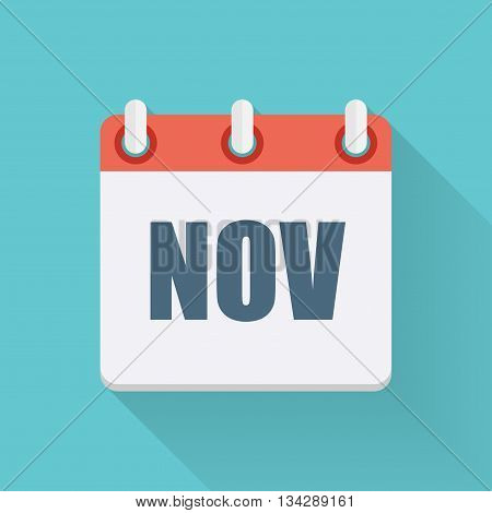 November Dates Flat Icon with Long Shadow. Vector Illustration EPS10