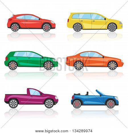 Cars icons set. 6 different colorful 3d sports car icon. Car vector EPS10