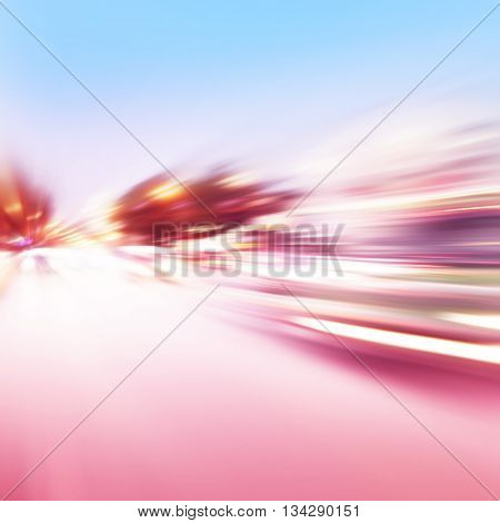Abstract image of traffic lights with motion blur in the city.