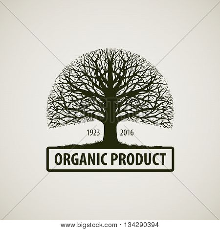 Tree without leaves. Nature, ecology vector logo. Oak icon. Organic product