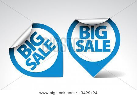 Round Labels / stickers for big sale - blue and white version