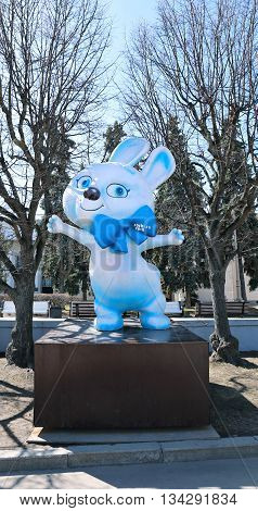 MOSCOW, RUSSIA - APRIL 11, 2015: Monument big doll hare - symbol of the Olympic Games in Sochi 2014