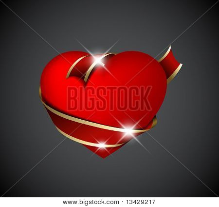 Red heart with red ribbon - Valentines decoration