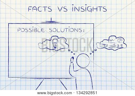 Facts Vs Insights, Man Writing On Blackboard
