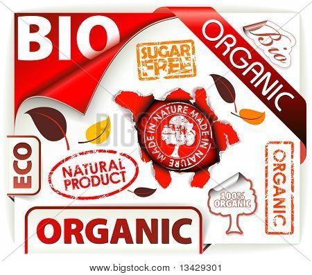 Set of red bio, eco, organic elements - labels, stickers, stamps, ribbons