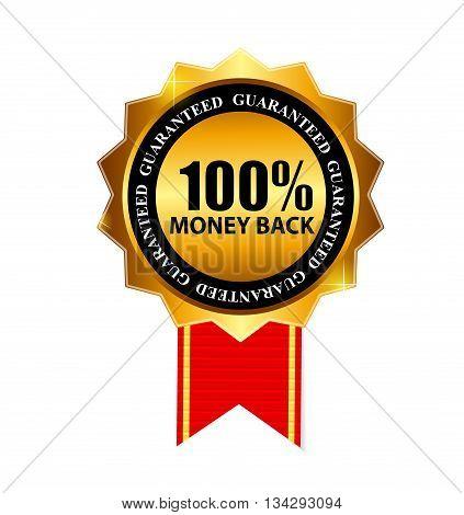 Gold Label 100 Money back. Vector Illustration EPS10