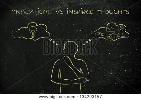 Analytical Vs Inspired Thoughts, Man With Contrasting Ideas