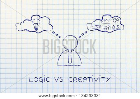 Logic Vs Creativity, Businessman With Thought Bubbles