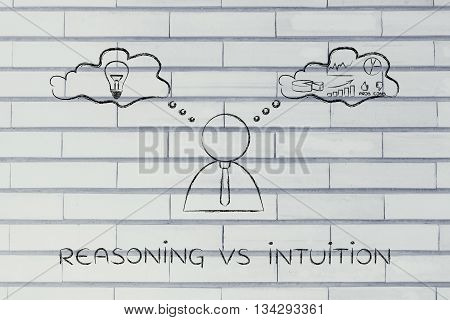 Reasoning Vs Intuition, Businessman With Thought Bubbles