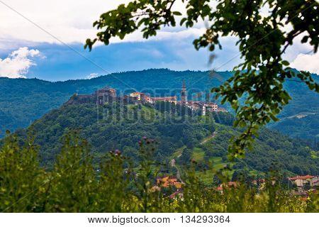 Town of Buzet on green hill Istria Croatia