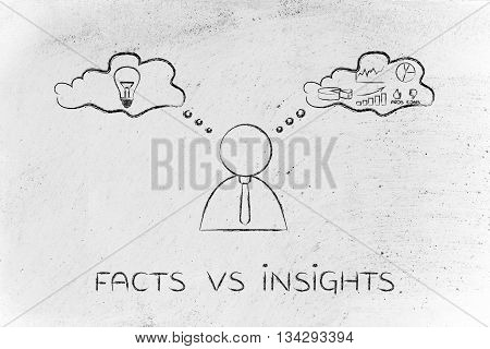 Facts Vs Insights, Businessman With Thought Bubbles