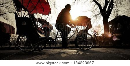 Rickshaw Riding Tricycle Traditional Culture Travel Concept