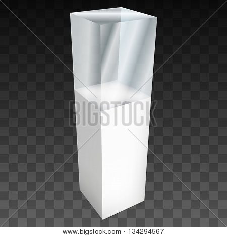 Empty glass showcase for exhibit. 3D Vector illustration on black transparent background. Trade show booth white and blank pedestal with glass box for expo design.