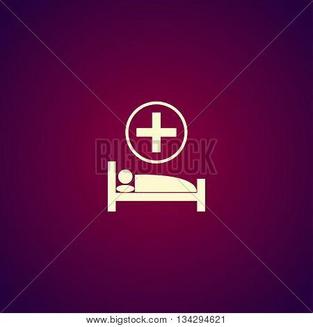 Hospital Bed. Flat Design Style.
