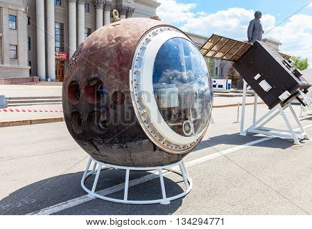 SAMARA RUSSIA - JUNE 12 2016: The lander spacecraft Resurs-F2 at the free exposition on Kuibyshev square. Resurs-F2 was a series of the Soviet film-return earth observation satellite