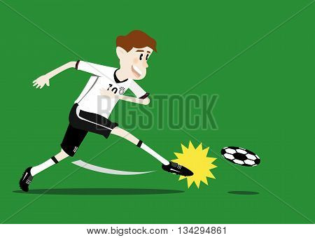 vector illustration cartoon of Germany soccer player shooting a ball on the green soccer field background. soccer concept eps 10