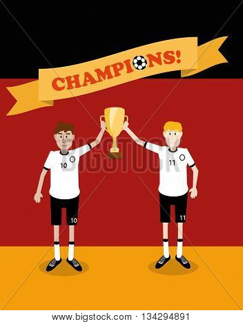 vector illustration of Germany national soccer players holding champions winner trophy cup