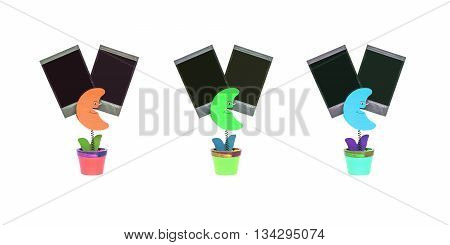 Closeup color clamp photo in moon shape in flowerpot with black blank film isolated on white background