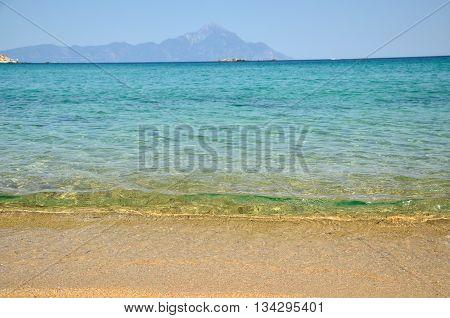 Athos mountain seen from the beautiful Sithonia peninsula