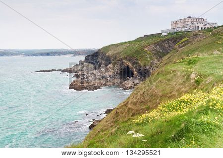 View of the Cornish coastline in the county of Cornwall UK